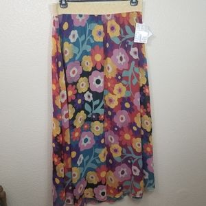 Lularoe Lucy NWT Flower Maxi Broom Skirt Size L